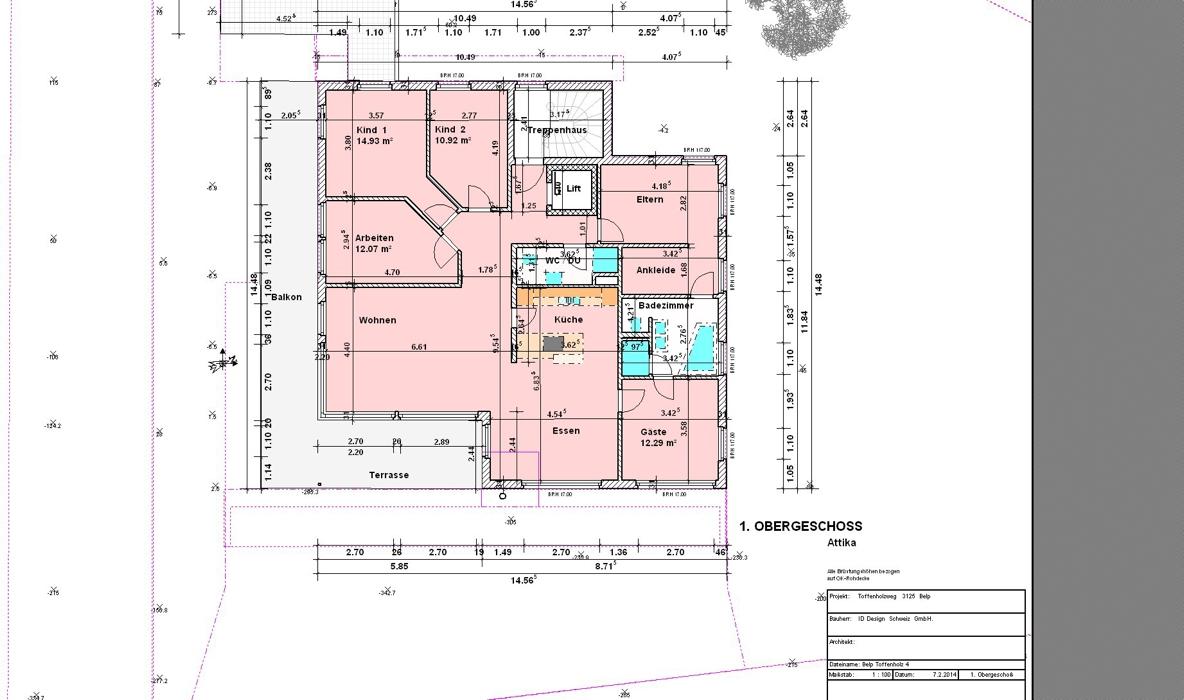 Belp/Toffenholz - Grundriss Obergeschoss